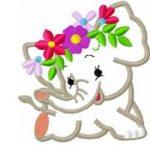 Eléphante couronne fleurs