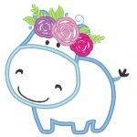 Hippo couronne de fleurs